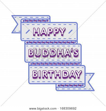 Happy Buddha Birthday emblem isolated vector illustration on white background. 10 may world buddhistic holiday event label, greeting card decoration graphic element