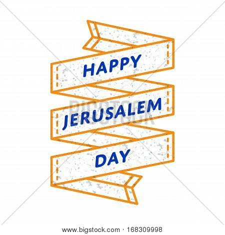 Happy Jerusalem day emblem isolated vector illustration on white background. 24 may jewish national holiday event label, greeting card decoration graphic element