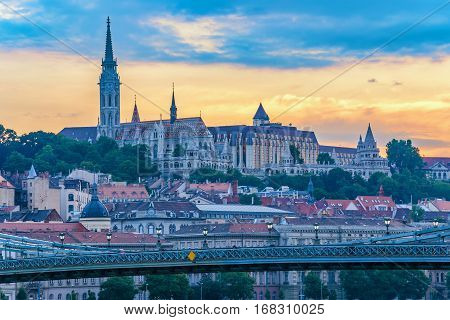Fisherman Bastion and Budapest city skyline when sunset, Budapest, Hungary