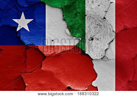 Flags Of Chile And Italy Painted On Cracked Wall