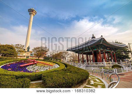 Busan Tower and flower clock, Busan, Korea