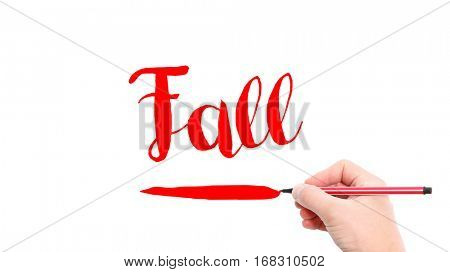The verb Fall written on a white background