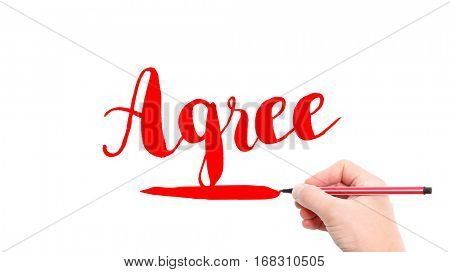 The verb Agree written on a white background