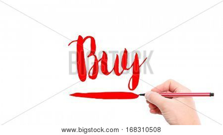 The verb Buy written on a white background