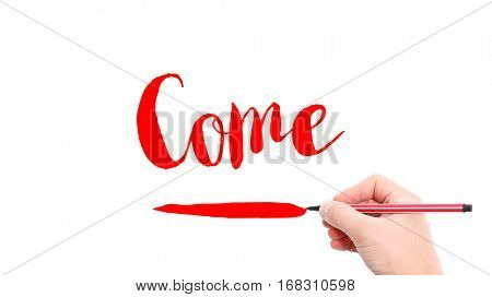 The verb come written on a white background