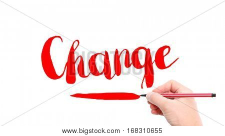 The verb Change written on a white background