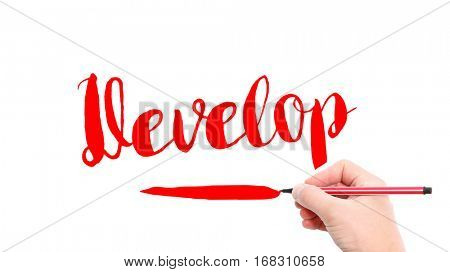 The verb Develop written on a white background