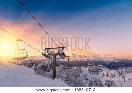Beautifull Sunset Ski Center Of Vogel