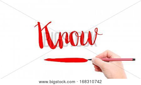 The verb know written on a white background