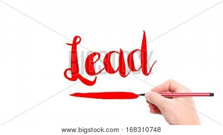 The verb Lead written on a white background