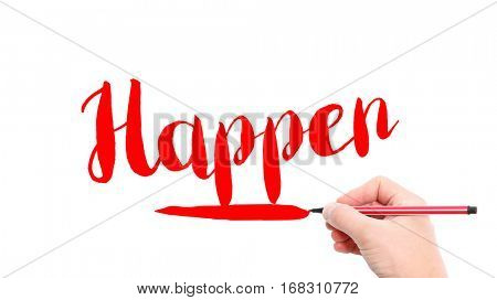 The verb happen written on a white background