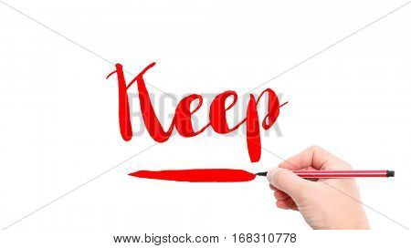 The verb keep written on a white background