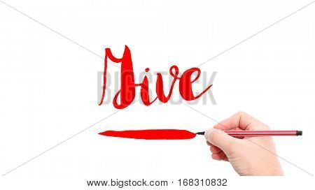 The verb give written on a white background