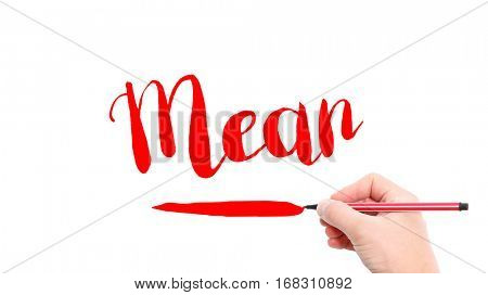 The verb mean written on a white background
