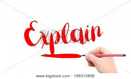 The verb Explain written on a white background