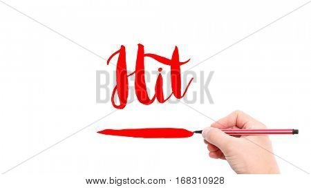 The verb Hit written on a white background