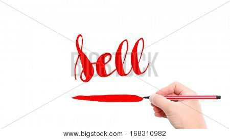 The verb Sell written on a white background