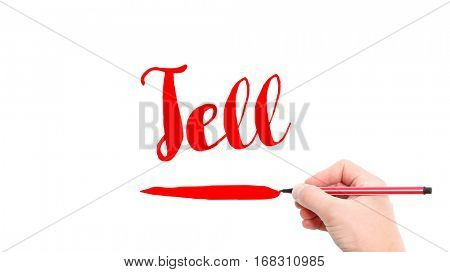 The verb tell written on a white background