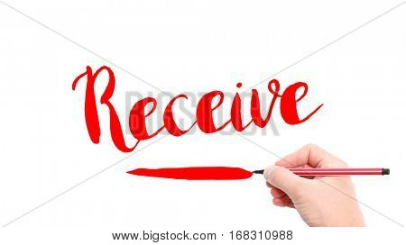 The verb Receive written on a white background