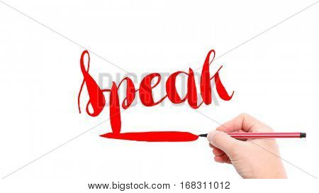 The verb Speak written on a white background
