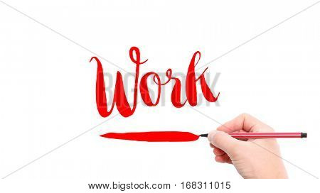 The verb work written on a white background
