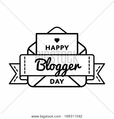 Happy Blogger day emblem isolated vector illustration on white background. 14 june world social media holiday event label, greeting card decoration graphic element