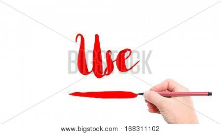 The verb use written on a white background