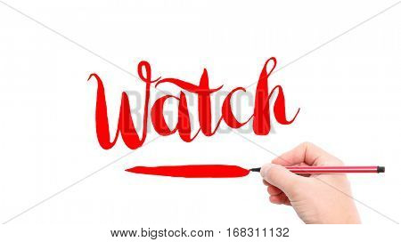 The verb Watch written on a white background