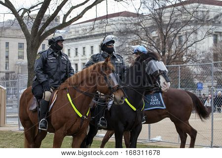 WASHINGTON DC - JANUARY 20: Horse mounted Maryland Police during Inauguration of Donald Trump. Taken January 20 2017 in District of Columbia.