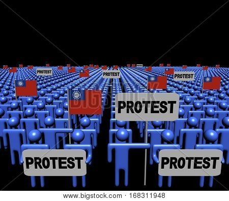 Crowd of people with protest signs and Myanmar flags 3d illustration