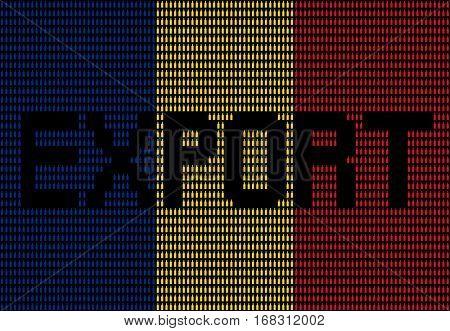 Export text on Romanian bottle flag illustration