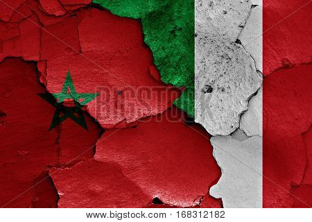 Flags Of Morocco And Italy Painted On Cracked Wall