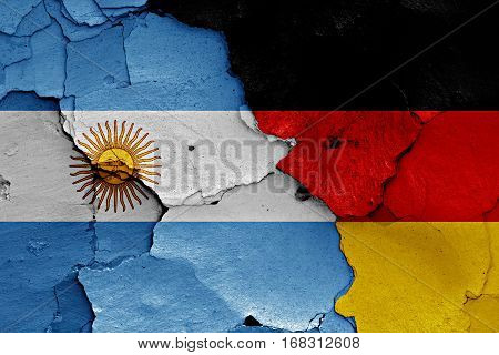 Flags Of Argentina And Germany Painted On Cracked Wall