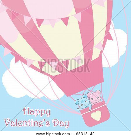 Valentine's Day card with cute bears in hot air balloon on the sky suitable for Valentine's Day greeting card, postcard, and invitation card