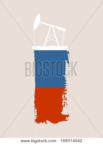 Oil pump icon and grunge brush stroke. Energy generation and heavy industry relative image. Vector illustration. Flag of the Russia