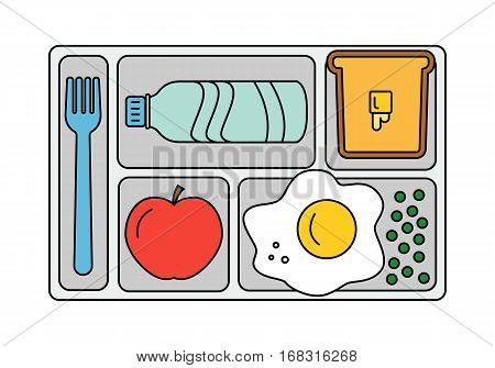 School lunch with scrambled egg with green peas, bread and butter, apple and bottle of water. Line style. Vector illustration.