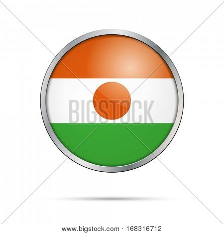Vector Nigerien flag button. Niger flag glass button style with metal frame.