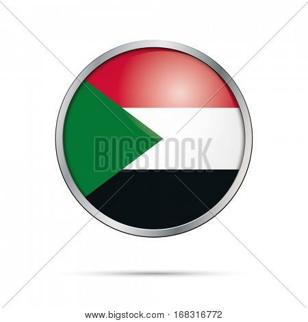 Vector Sudanese flag button. Sudan flag glass button style with metal frame.