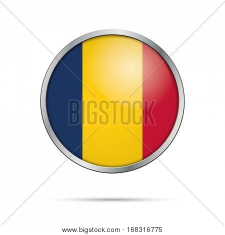 Vector Chadian flag button. Chad flag glass button style with metal frame.