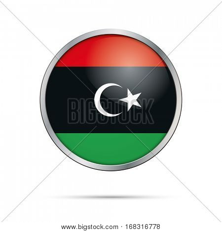 Vector Libyan flag button. Libya flag glass button style with metal frame.