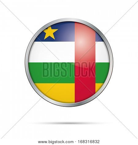 Vector Republic of Central Africa flag glass button style with metal frame.