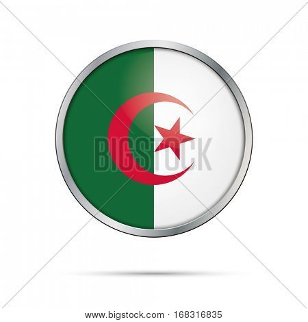 Vector Algerian flag button. Algeria flag glass button style with metal frame.