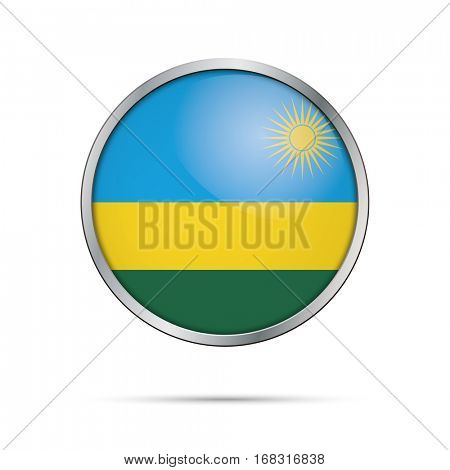 Vector Rwandan flag button. Rwanda flag glass button style with metal frame.