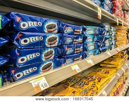 New York February 2 2017: Oreo cookies for sale stand on a shelf in a pharmacy.