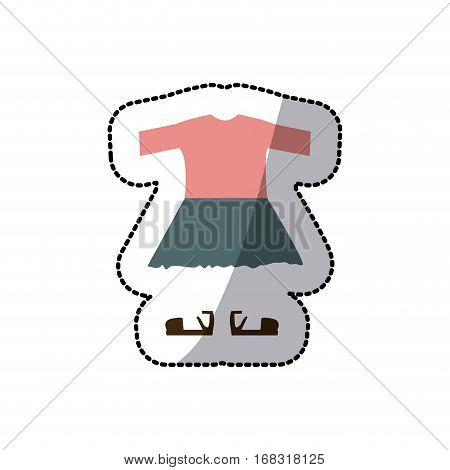 sticker color silhouette with girl clothing pijama vector illustration