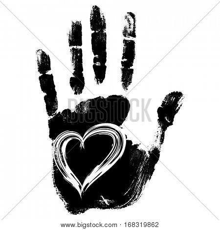 Concept conceptual cute paint human hand or handprint of child with heart shape isolated on white background for art, childhood, fun, happy, infant, symbol, kid, education, little, young love