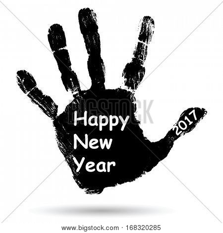 Concept or conceptual black ink hand print or handprint text made by children, Happy New Year 2017 kid greeting isolated on white background for celebration, holiday, party,winter, or eve event