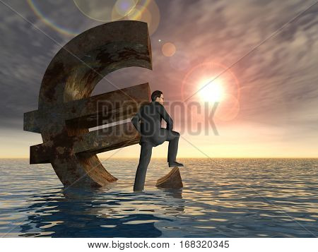 Conceptual 3D illustration currency euro symbol sinking in sea, ocean water with business man, sunset concept to European crisis for financial, banking, businessman, economy, problem, danger or risk