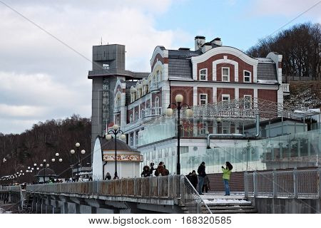 SVETLOGORSK, KALININGRAD REGION, RUSSIA - FEBRUARY 13, 2011: Hotel Grand Palace in famous russian sea resort Svetlogorsk (Rauschen) at winter. Kaliningrad region Russia.