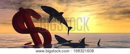 Conceptual 3D illustration bloody dollar symbol sign sinking in water sea, with black sharks eating, metaphor or concept for crisis in US banner, financial, crash, danger, business or currency designs
